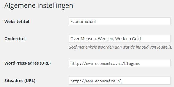 WordPress Algemene Instellngen
