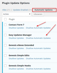 Automatic Update Options van Plugins