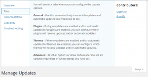 Easy Update Manager Hulp Opties