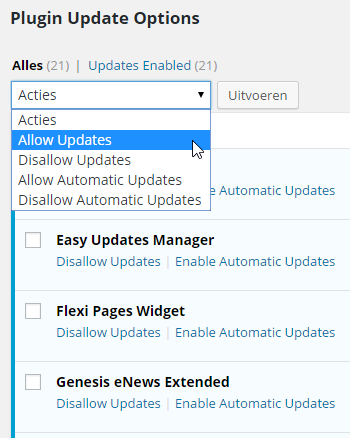 Easy Updates Manager Configuratie Plugin Automatic Updates