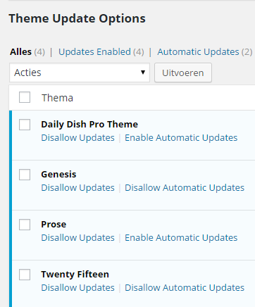 Easy Updates Manager Configuratie Theme Automatic Updates