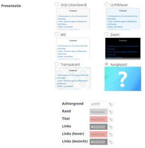 Kleuren aanpassen van de TOC+ Inhoudsopgave