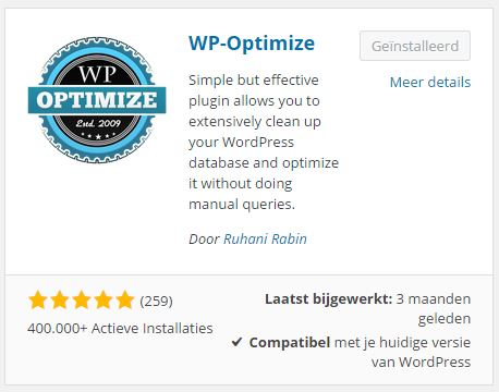 Plugins toevoegen WP-Optimize