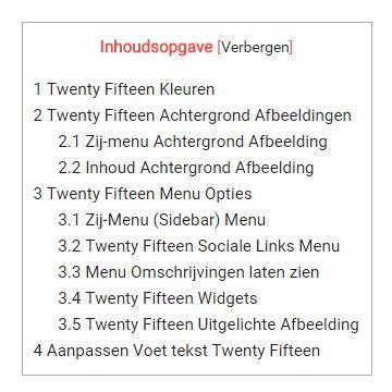 Twenty Fifteen Thema Aanpassen Inhoudsopgave
