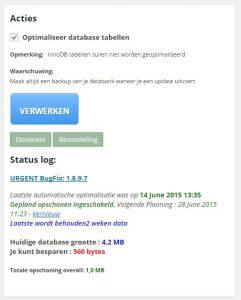WP-Optimize Opschoon Acties