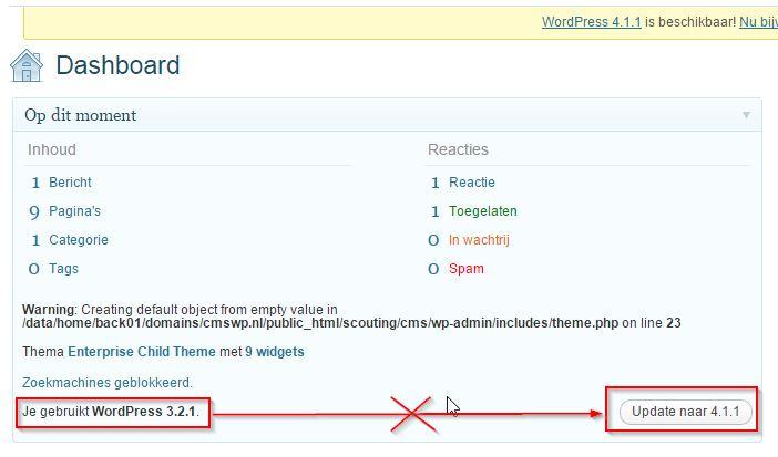 WordPress Updaten van Oude WordPress Versie
