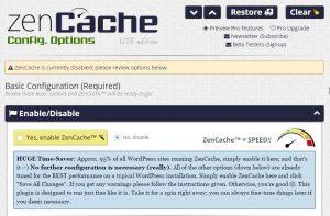 ZenCache WordPress Cache Plugin niet Enabled na activering