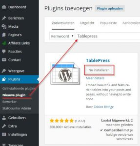 tabblepress plugin installeren