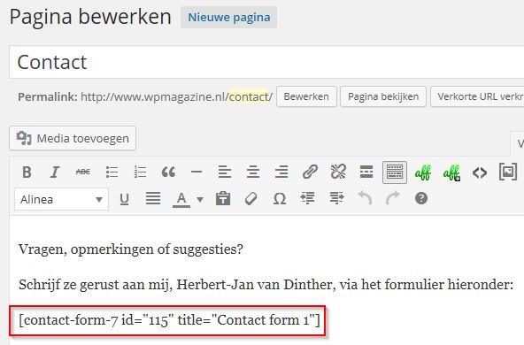 Contact pagina en shortcode