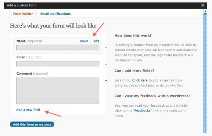 Jetpack WordPress Contact Form