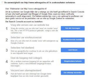 Search Console - Berichten voor www.wdmagazine.nl