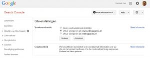 Search Console voorkeur Site-instellingen