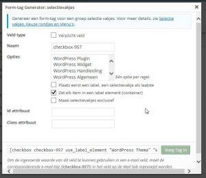 Toevoegen selectie lijsten in contact formulier