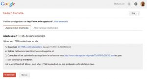 Website verificatie Google Search Console