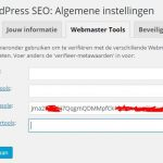 WordPress SEO Google Verificatie