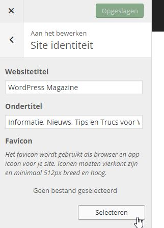 Website favicon toevoegen via WordPress Customizer