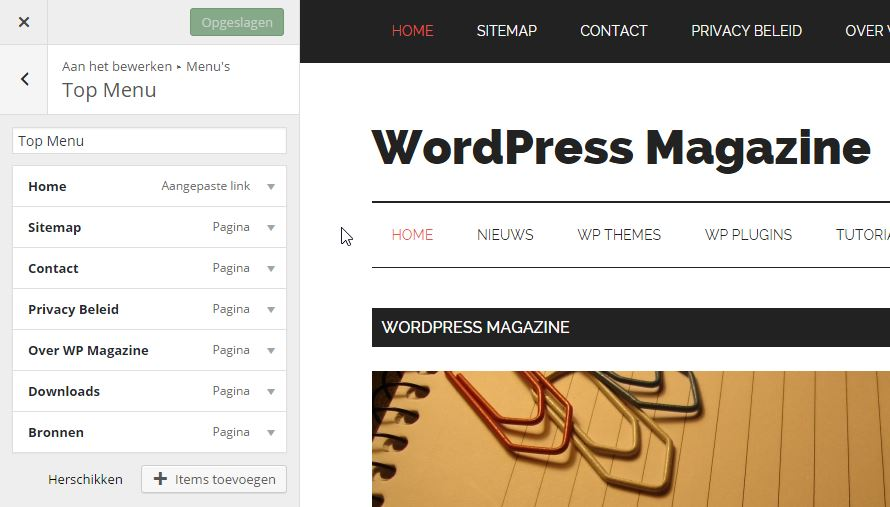 WordPress Menu aanpassen in de Customizer