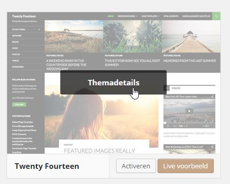 WordPress Thema Details in Thema's beheren