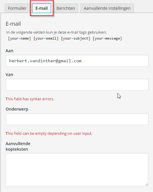 Contact Form 7 Mail Validatie Fouten