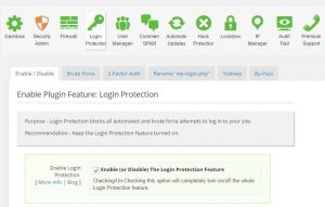 Shield login Protection Dashboard