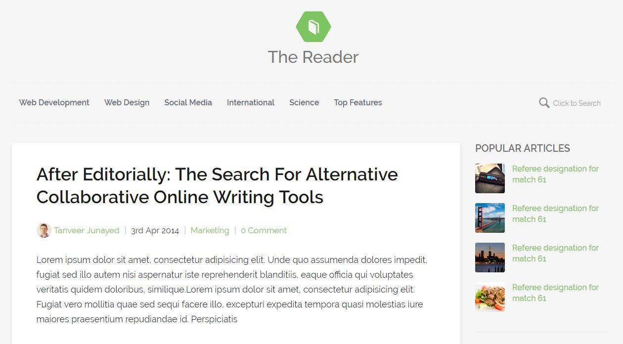 The Reader - Responsive HTML5 Minimal Blog Template