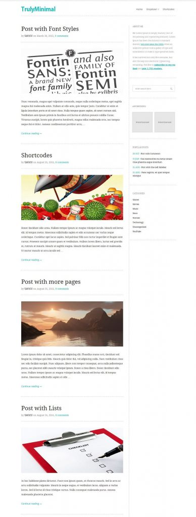 TrulyMinimal WordPress Theme