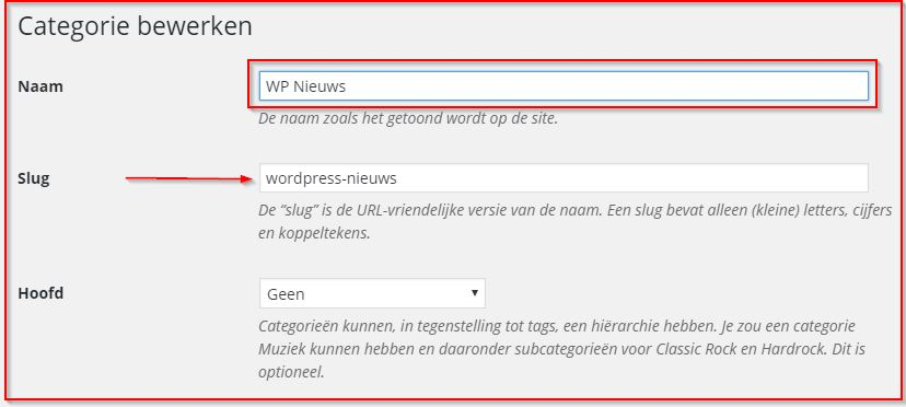 Categorie bewerken WordPress Magazine
