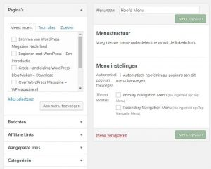 WordPress menu opbouw opties