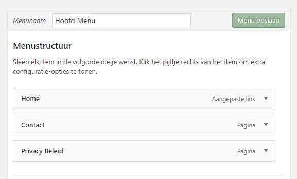 WordPress aangemaakt menu opslaan