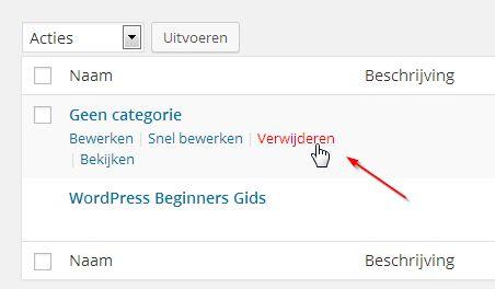 WordPress geen categorie verwijderen