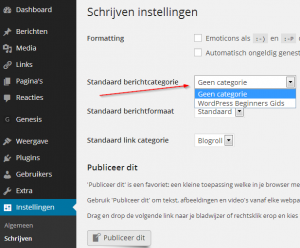WordPress basis categorie veranderen