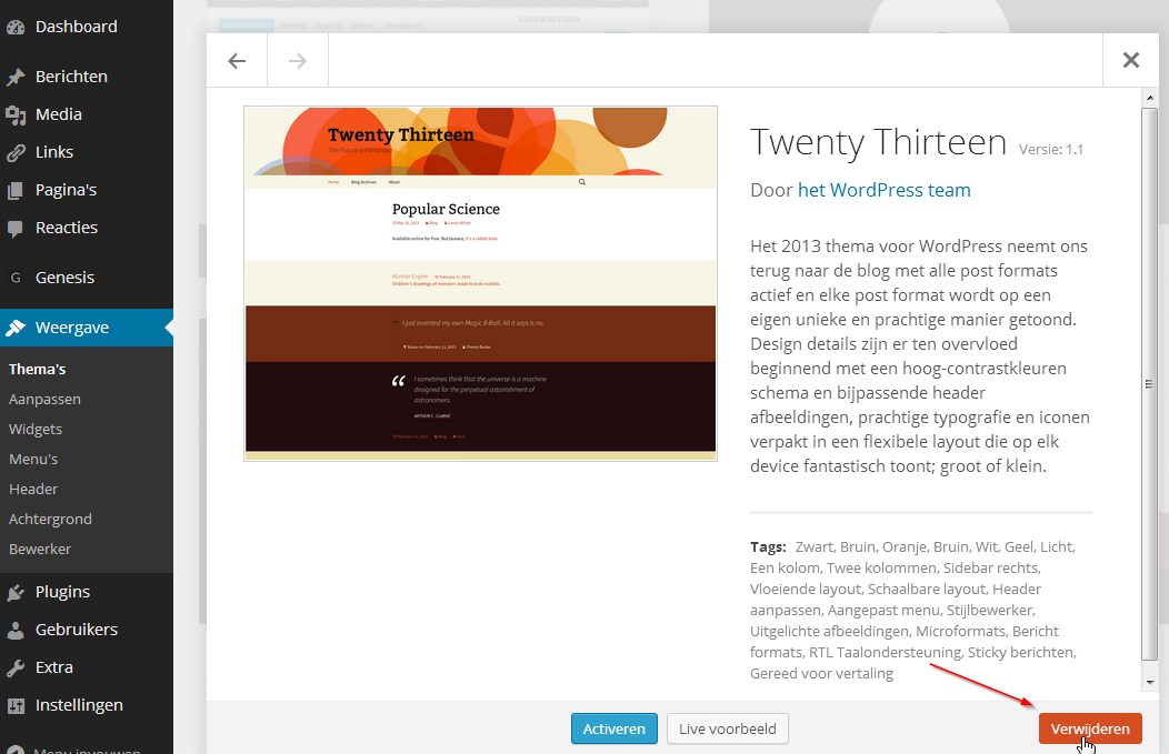 WordPress Thema verwijderen