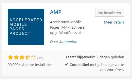 WordPress AMP Plugin installeren in WordPress