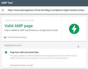 WordPress Magazine Google Search AMP Test