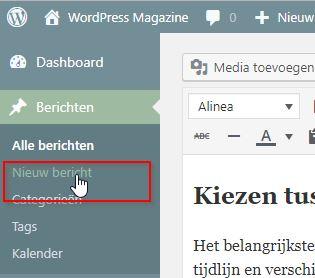 WordPress Nieuw Bericht Maken