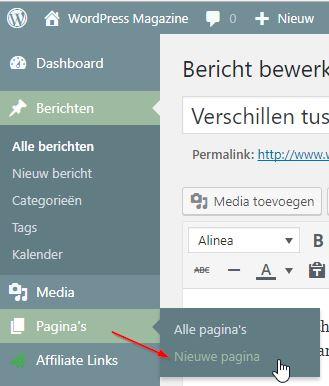 WordPress Nieuwe Pagina maken