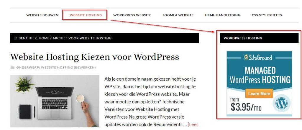 Aangepaste WordPress Menu's en Widgets in Gebruik