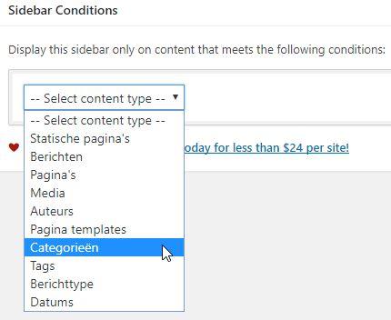 Nieuwe Sidebar content type selectie