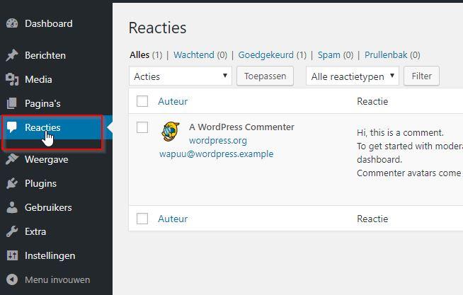 WordPress Reacties Beheren