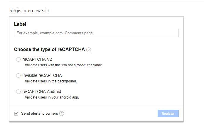Google site registeren voor reCAPTCHA